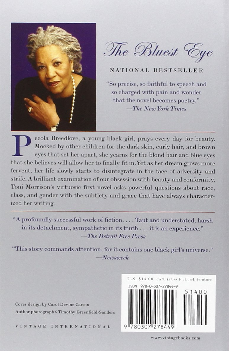 toni morrison the bluest eye research paper Racism in tony morrison's the bluest eye 6 pages 1490 words the bluest eye, tony morrison shows an extreme all papers are for research and reference.