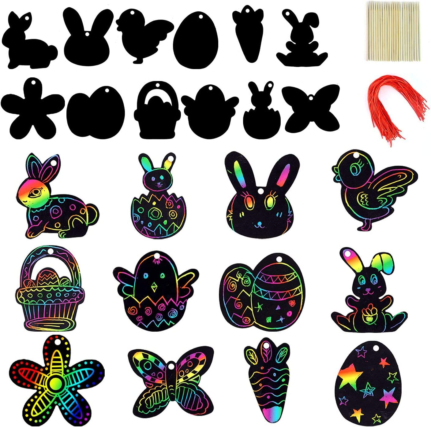 72 Pcs Easter Scratch Paper Set (12 Designs) Rainbow Scratch Art Easter Crafts Kit for Kids with Wooden Stick and Ribbon, Rainbow Color Scratch Ornaments for Home Tree Decor and Easter Party Favors