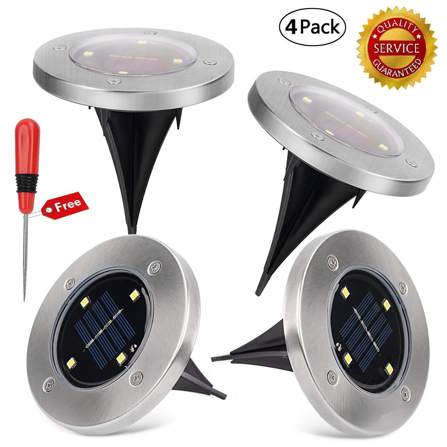 Yesker Solar Powered Ground Light, Pathonor Waterproof Garden Pathway Lights With 4 LEDs for Home, Yard, Driveway, Lawn, Pack of 4 ( White )