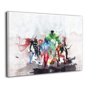 LP ART Canvas Print Wall Art Watercolor The Avengers Super Heroes Collage Picture Painting for Living Room Bedroom Modern Home Decor Ready to Hang Stretched and Framed Artwork 16''x20''