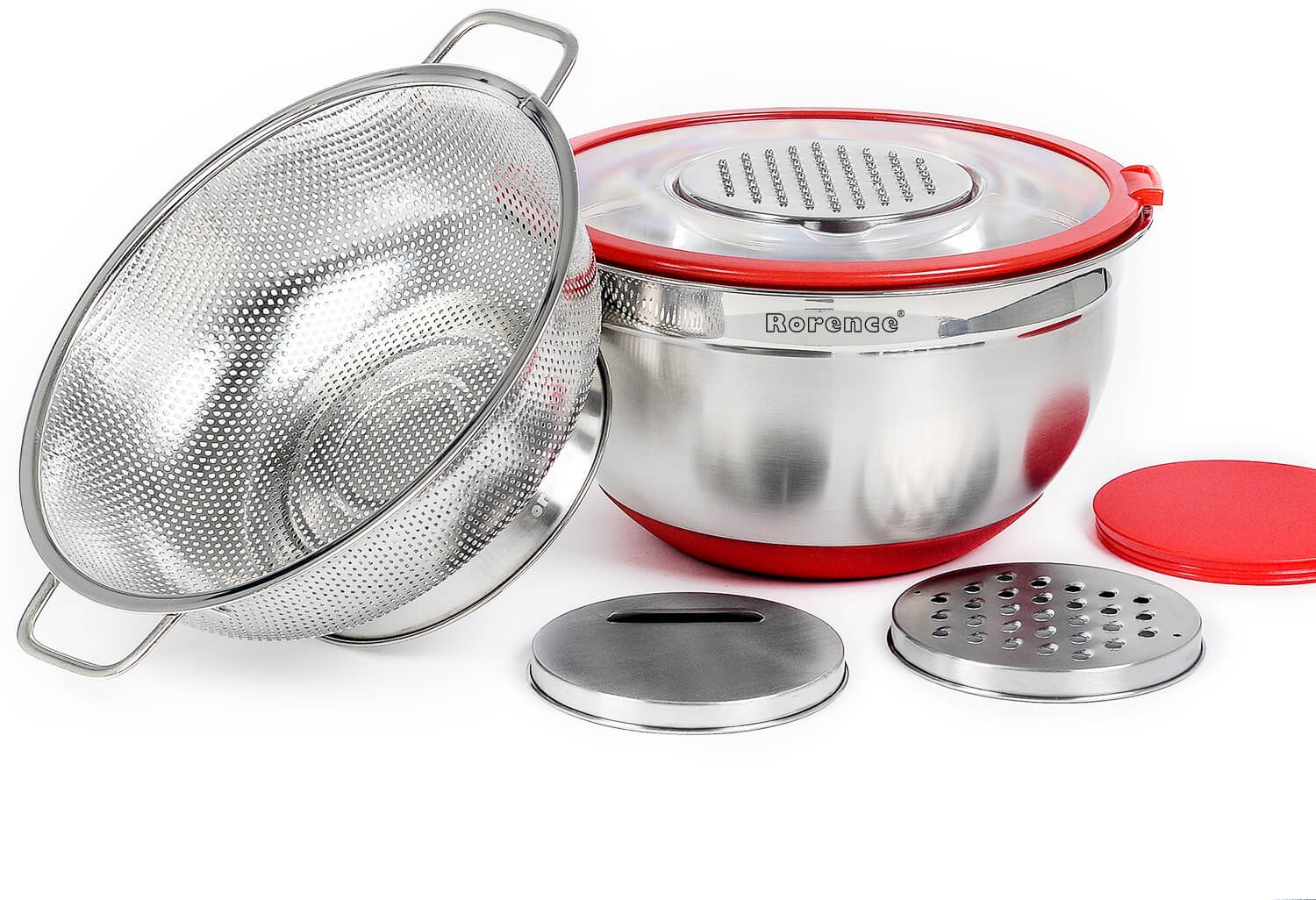 Rorence Stainless Steel Non Skid Mixing Bowl with Transparent Lid & 3 Graters Set with a Free Colander - Red