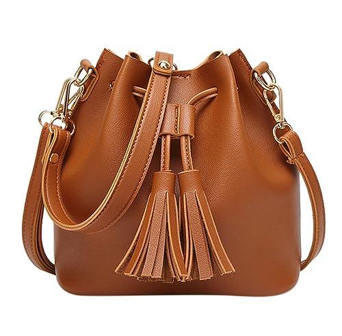 4983e24c9554 Amazon.com  Women Drawstring Bucket Bag Small Crossbody Shoulder Bag Tote  Handbag with Tassel  Shoes
