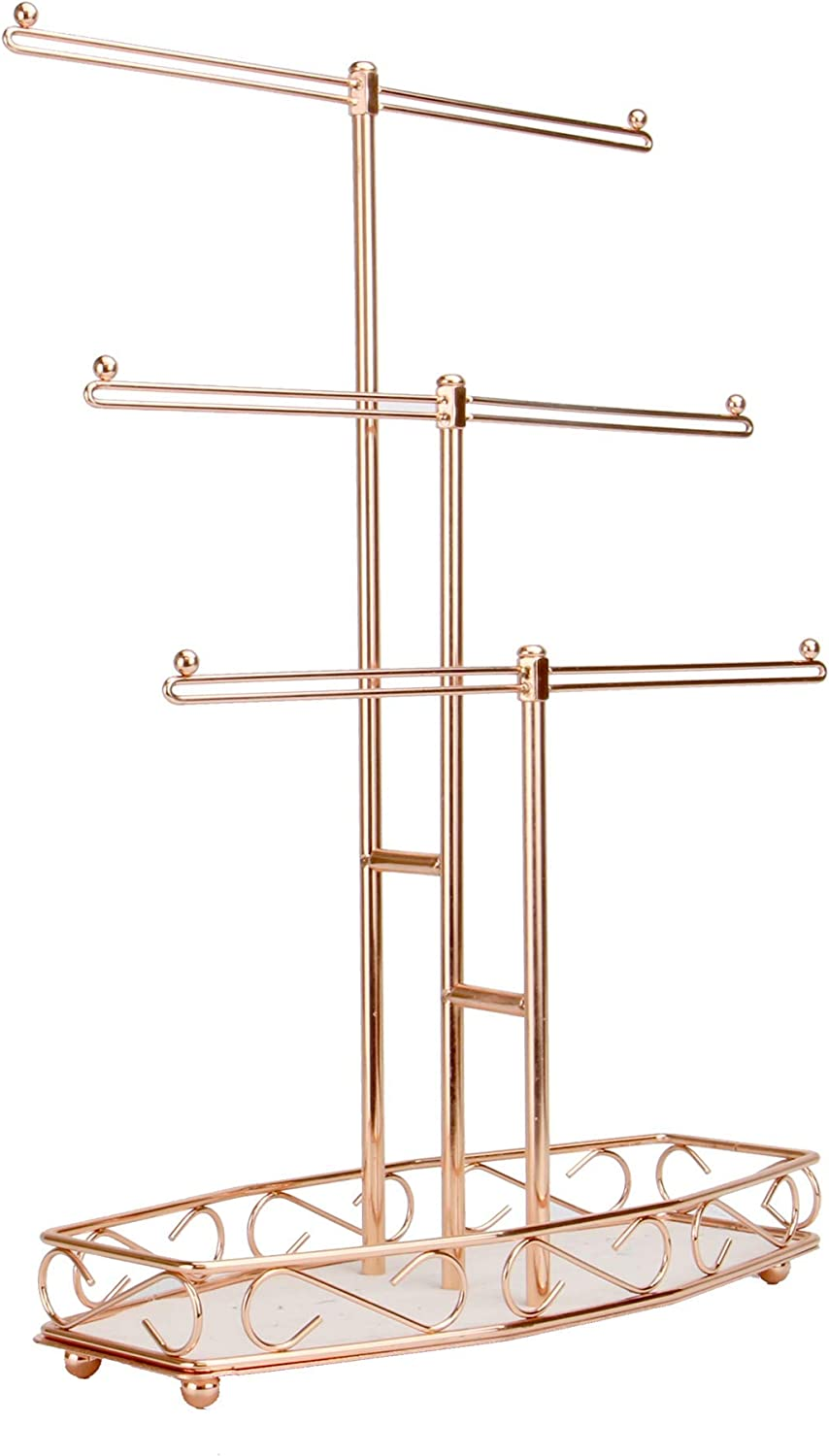 Rose Gold Jewellery Tree Stand 3 Tier Storage Organiser Jewellery Hanger Table Top Display Necklaces Bracelets Watches Rings M W Amazon Co Uk Jewellery