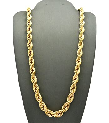 89ae98f3adeec Amazon.com: Time scent 14k Gold Plated Dookie Rope Chain 8mm 30 ...