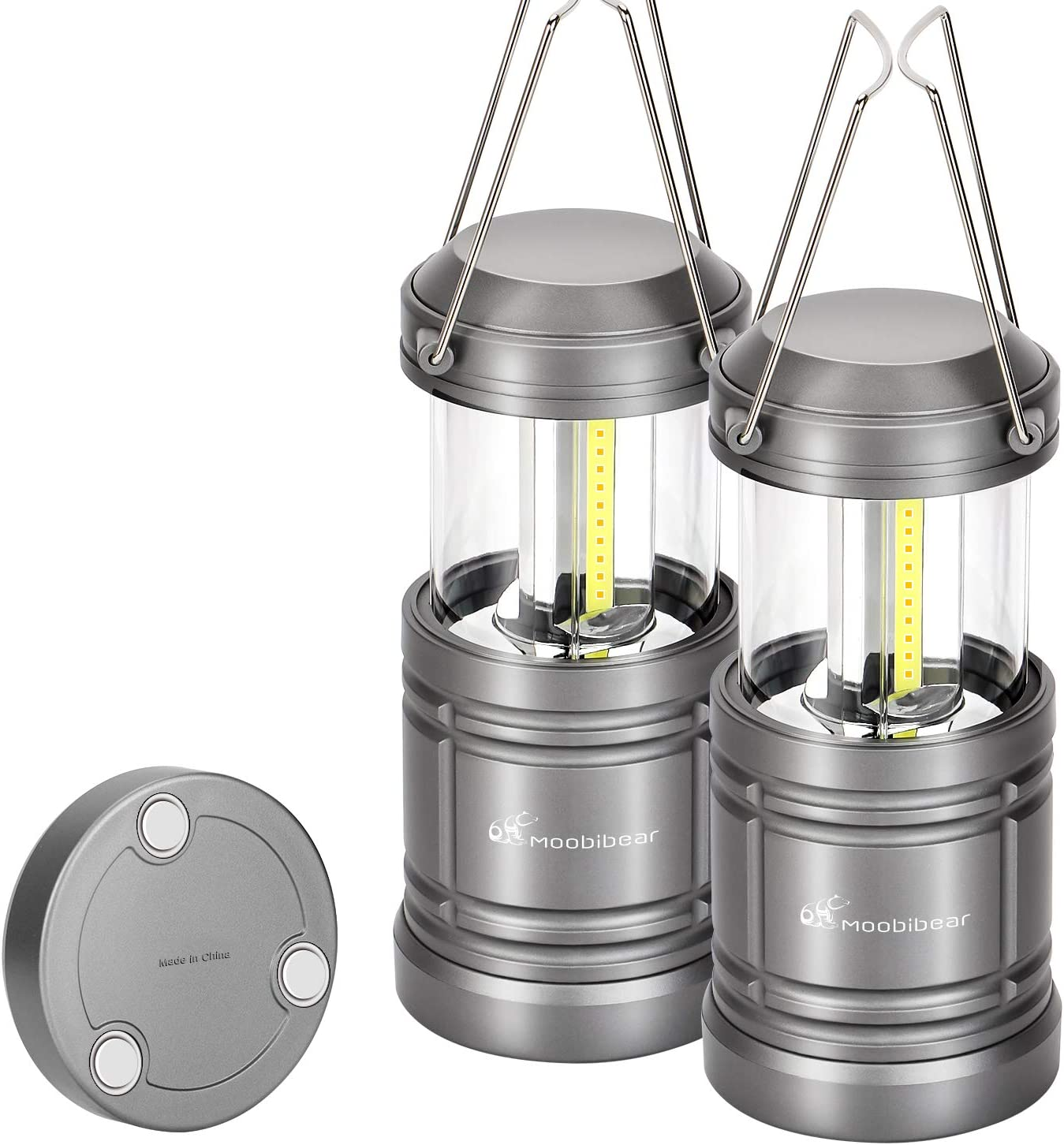 Outage 4 Modes Emergency Hiking 2 Pack Moobibear LED Camping Lantern Flashlights Outdoor 3 in 1 Rechargeable COB LED Lanterns with Magnetic and Hook Base Waterproof Collapsible Lamp for Tent