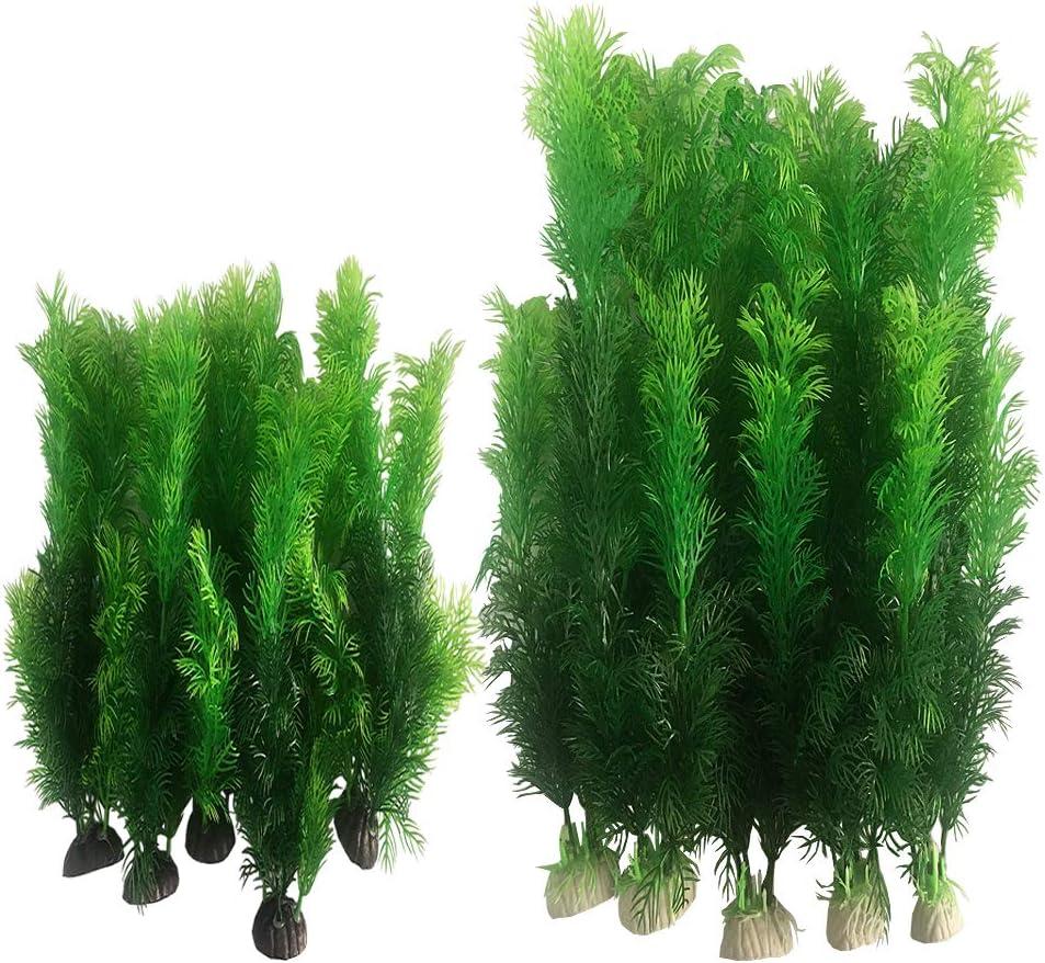 Smoothedo-Pets 7.8/12INCHES-10PCS Set Artificial Seaweed Decor Plastic Aquarium Plants Plastic Plants for Aquarium Plastic Fish Tank Plant Decorations (Set-B(10Pcs Green))