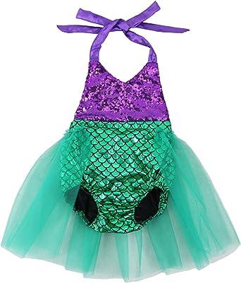 Wennikids Baby Girls Sequins Mermaid Bodysuit Romper Jumpsuit Summer Sunsuit Outfits