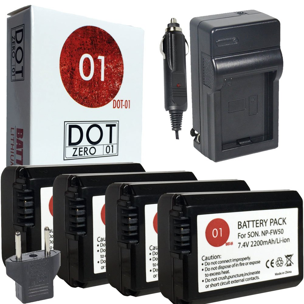 DOT-01 4X Brand Sony Alpha A5000 Batteries and Charger for Sony Alpha A5000 DSLR and Sony A5000 Battery and Charger Bundle for Sony FW50 NP-FW50