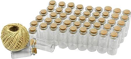 Wandefol 55pcs Botella de Mensaje, Botellas Cristales Pequeñas, Botella de Vídrio con Tapón de Corcho para Manualidad Decoración con Cordel Transparente a Prueba de Golpe Madera Yute Vídrio 10ml