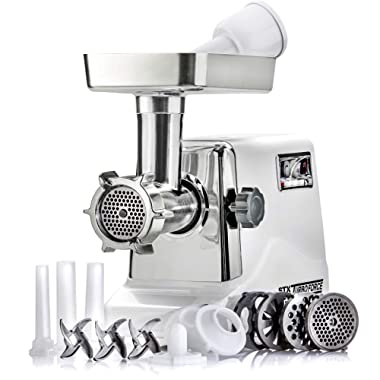 STX Turboforce 3000 Series 3 Speed Electric Meat Grinder & Sausage Stuffer - Heavy Duty 1200 Watts - Size #12-4 Grinding Plates, 3 Stainless Blades, Sausage Stuffer & Kubbe Attachment