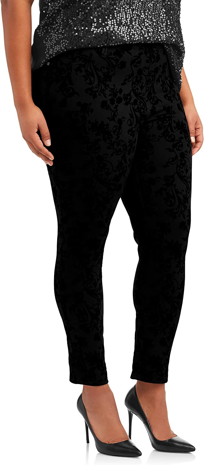 Black Soot Combo Print Floral Plus Size Generous Fit Full Length Jegging