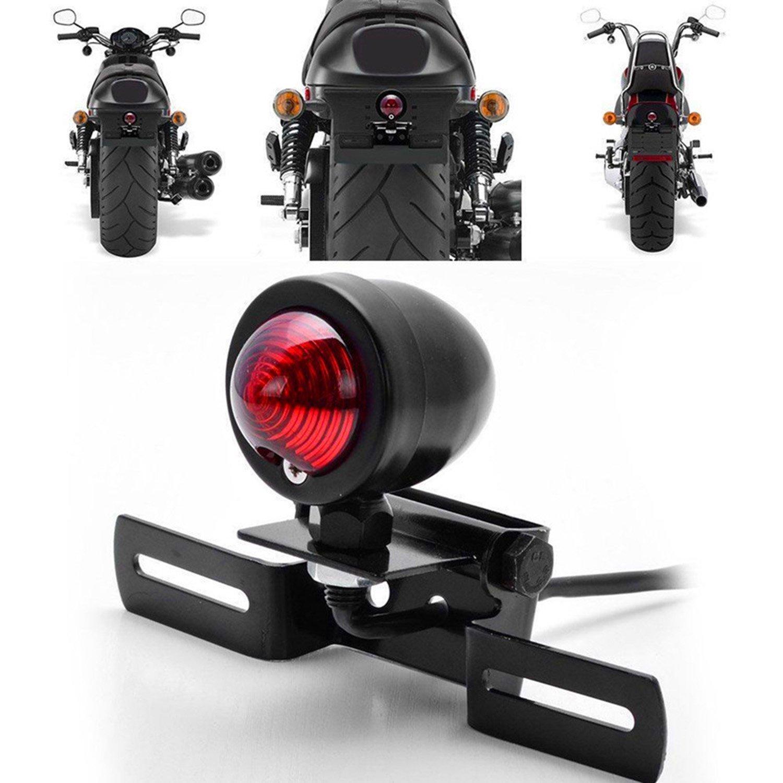TASWK 1 Round Motorcycle Brake Tail Light for Honda Yamaha Suzuki Kawasaki Tail Lights