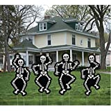 Halloween 4 pc Glow In The Dark Dancing Skeleton Yard Stakes