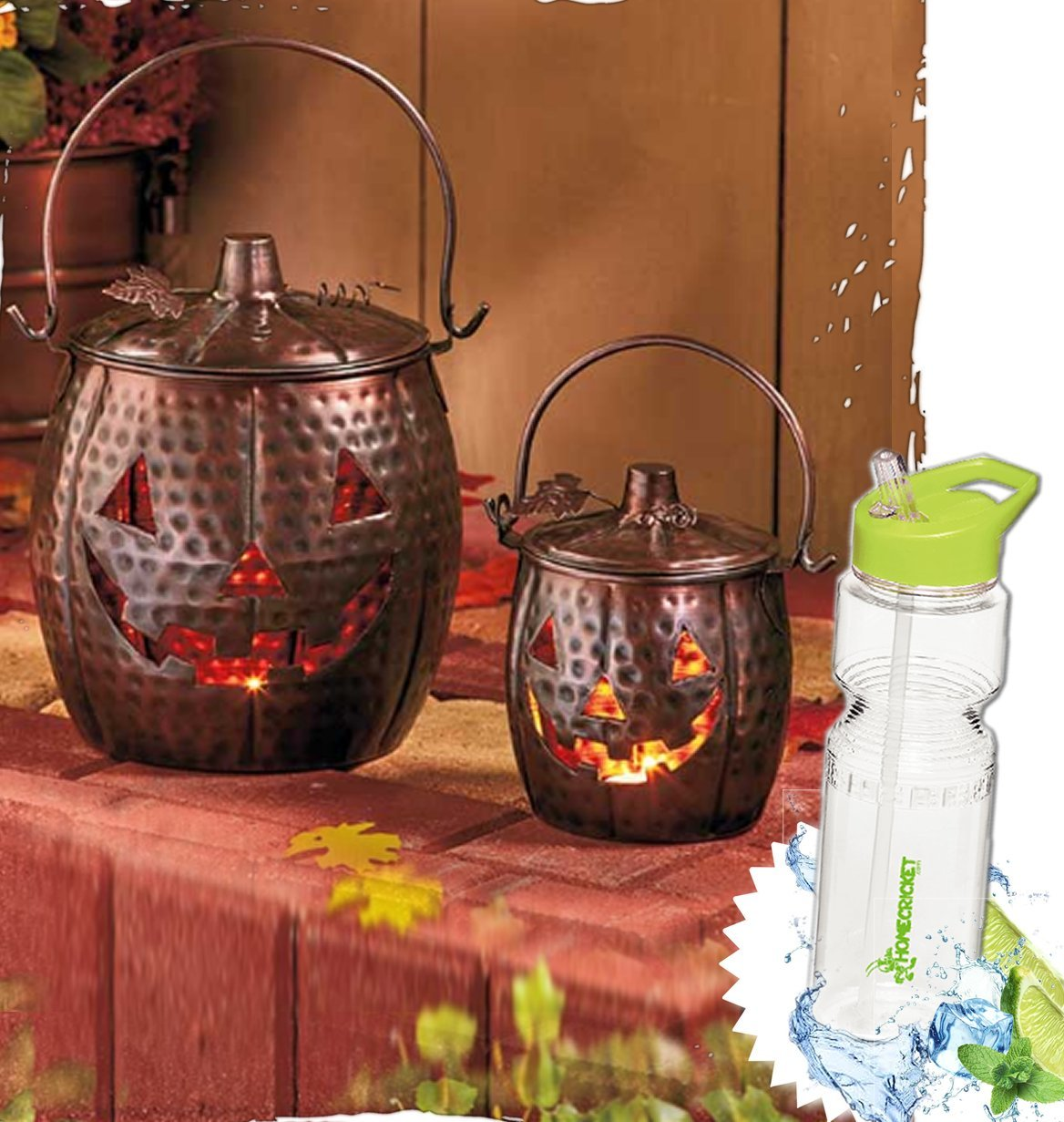 Gift Included- Set of 2 Metal Distressed Pumpkin Tea light Lanterns Home or Porch Decorations + FREE Bonus Water Bottle by Homecricket