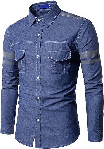 Glestore - Camisa vaquera de manga larga para hombre Azul 999 Azul S: Amazon.es: Ropa y accesorios
