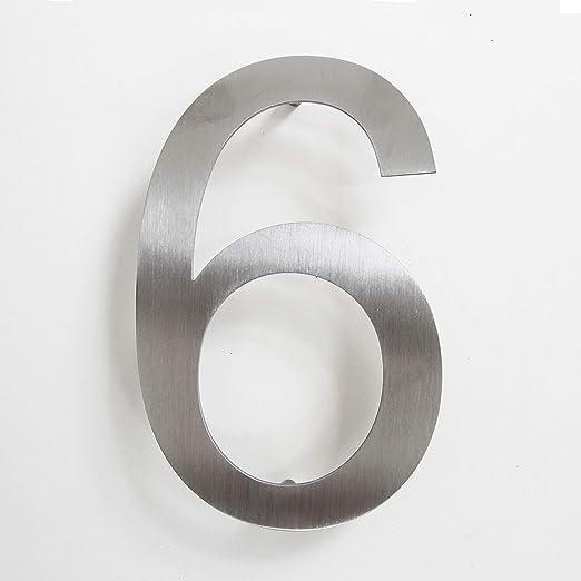 Número de calle, de acero inoxidable, adhesivo, altura 15,5 cm, número de casa, número de puerta de diseño 6