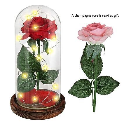 Asommet - Rosa roja de tela en campana de cristal con luces LED con base de