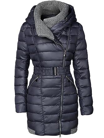 SWEST - Abrigo Largo Acolchado De Invierno Con Cuello Amplio Para Mujer, Azul