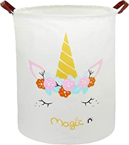 HUAYEE 19.7 Inches Large Laundry Basket Waterproof Round Cotton Linen Collapsible Storage bin with Handles for Hamper,Kids Room,Toy Storage (Magic Unicorn)