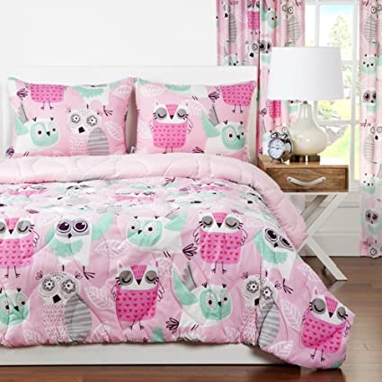 Amazon.com: 2 Piece Girls Hot Pink Grey Owl Theme Comforter Twin Set ...