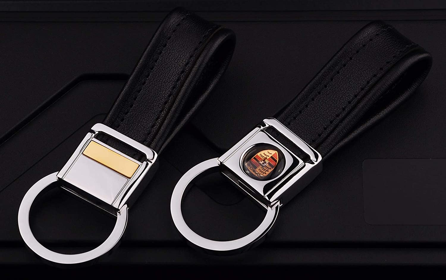 Cadtealir Highlight Stainless steel metal tab lock bucle inlaid with 18k golden chip with full grain nappa leather strap car key chain lanyard clips ring for porsche for men woman accessories