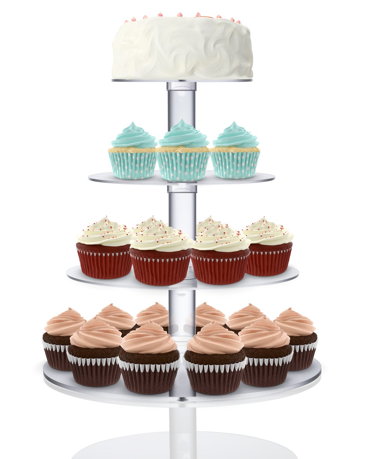 Utenlid 4-Tier Stacked Party Cupcake and Dessert Tower Clear Acrylic Cake Stand by UtenLid/Ã/'/Â/®