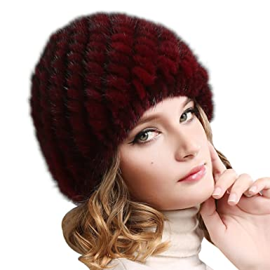 8d0306d5c67f2 FURTALK Womens Mink Fur Winter Hat - Luxurious Warm Skiing Hats Cap for  Women Girl Orginal