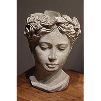 Maceta Busto I-Valo, cerámica, Gris, H 22cm, Busto