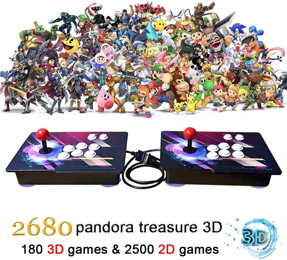 MOSTOP 3D & 2D Arcade Video Game Console 2680 Games in 1 Pandora's Box 180 3D Games 1080P HD 2 Players Arcade Machine with Double Joystick Support Expand 6000+ Games (2680 Colorful)
