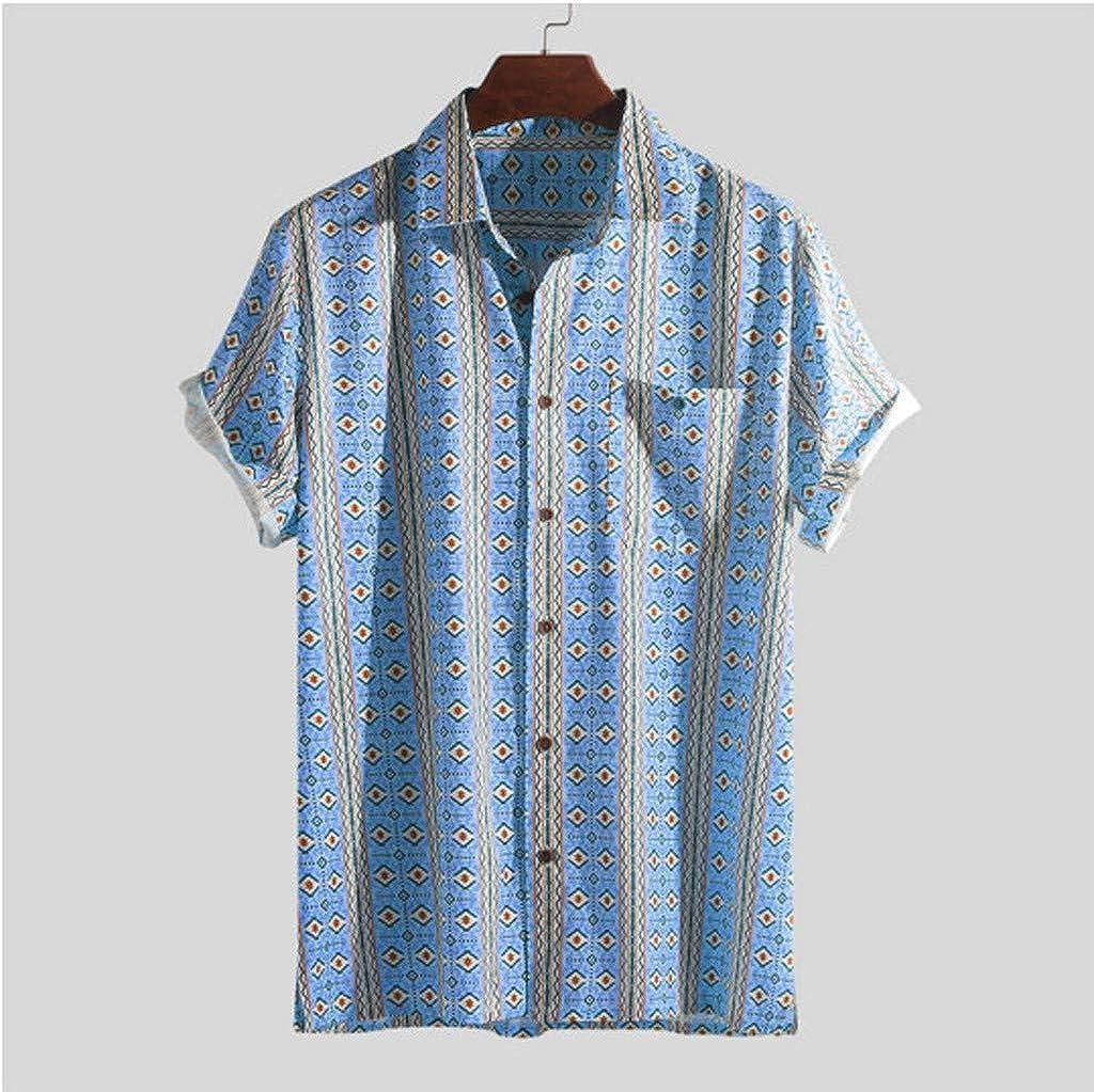 Buttons Stripe Lapel Casual Beach Blouse YANG-YI 2019 New Men Summer Short Sleeve Shirt