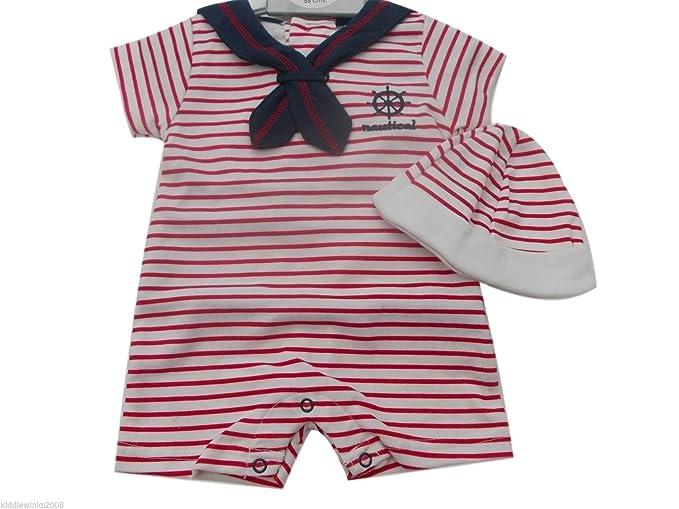 BNWT bebé niños rojo rayas náuticas Sailor todo en uno Pelele y gorro Ropa Rojo rosso: Amazon.es: Ropa y accesorios