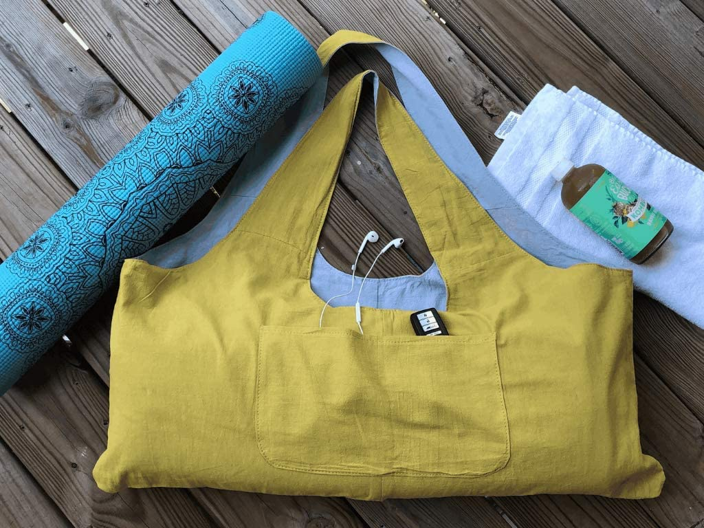 | Has Multi-Functional Large Zipper Pocket Light Eco-Sac Hemp Linen Yoga Bag Magnetic Closure On Top Soft Large Washable Gym /& Yoga Mat /& Accessories Carrier That is Eco Friendly