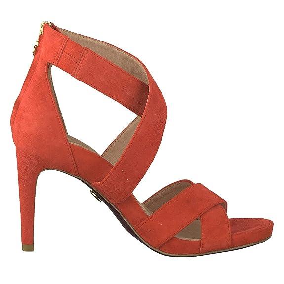 Tamaris 1 28302 22 500 Damen Red Rot Sandaletten High Heel Sandale Heart & Sole