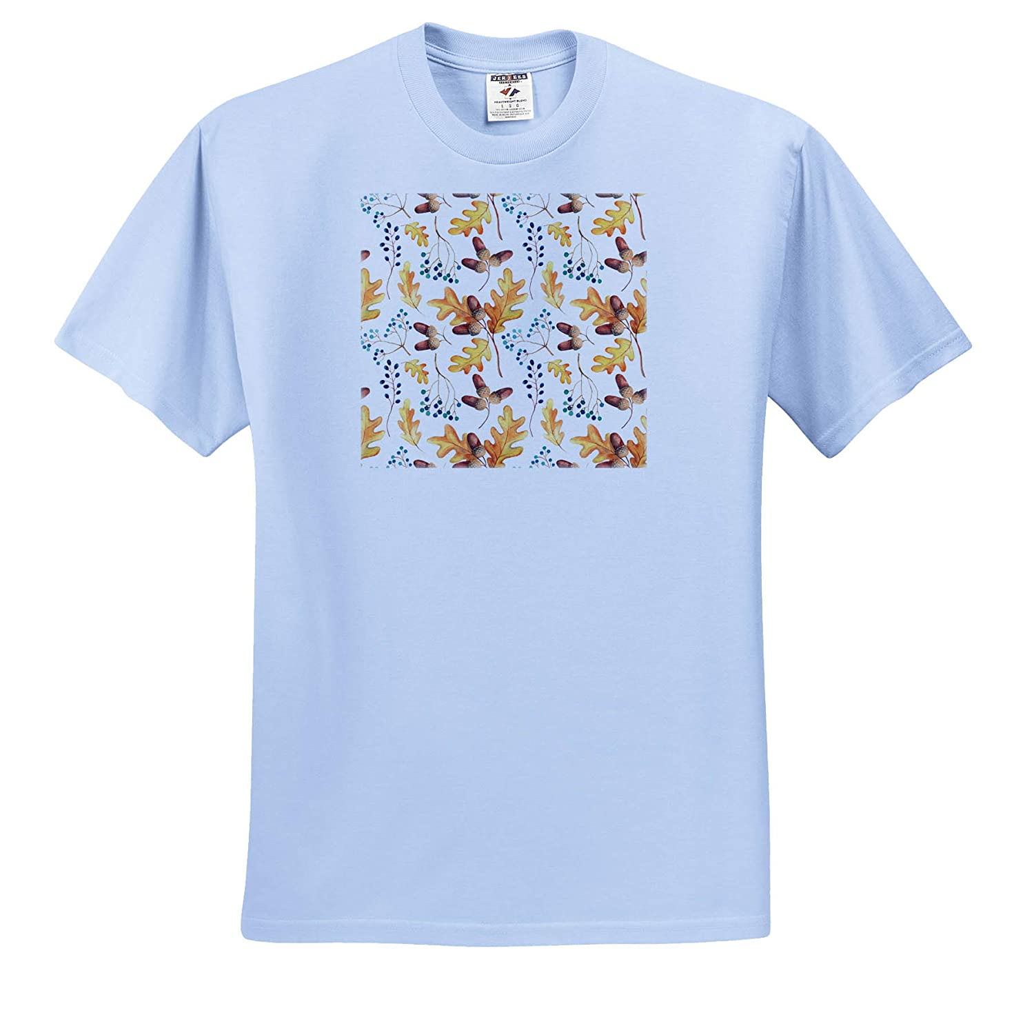 Autumnal Pattern of Oak Leaves T-Shirts Acorns Blue Berries on White 3dRose Alexis Design Pattern Autumn