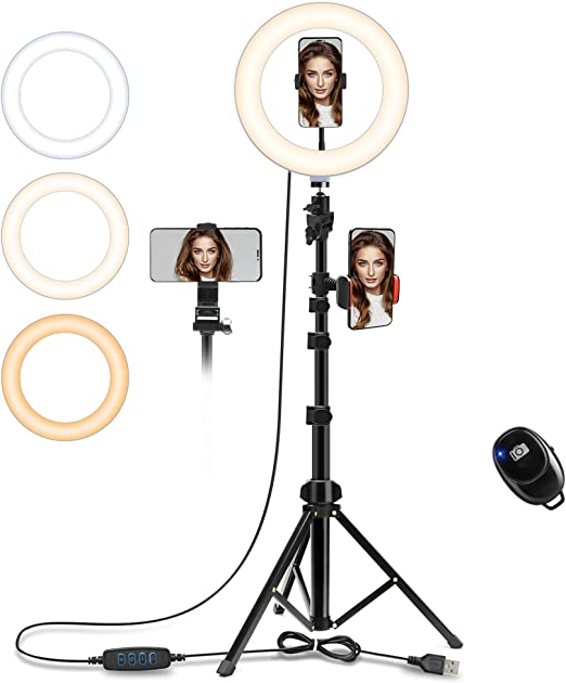 Ring Light with Stand Compatible with iPhone Android 10 Dimmable LED Desk Makeup Beauty Selfie Ringlight with Phone Holder for YouTube Video//Live Stream//Photography//Vlog