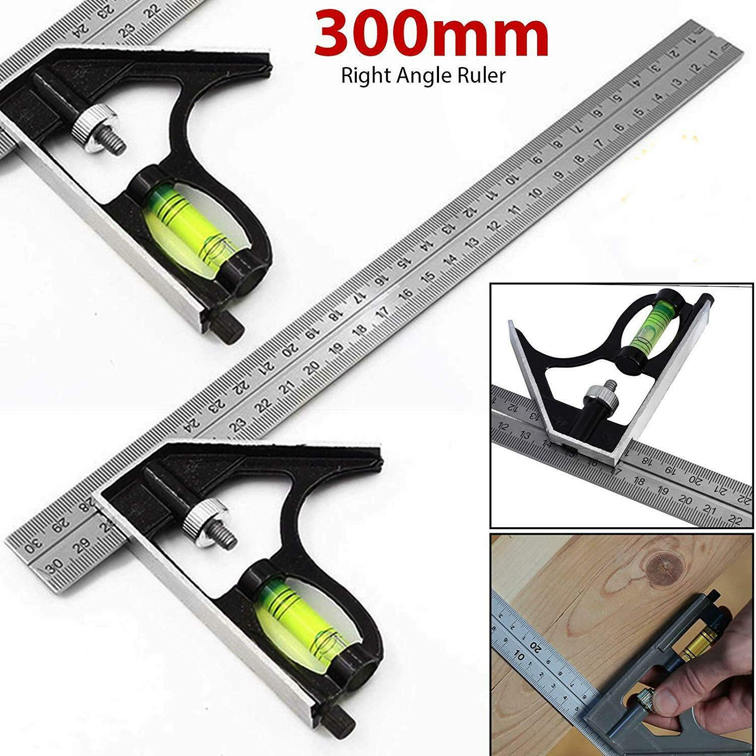 OUYAWEI Hot 300mm Adjustable Engineers Combination Try Square Right Angle Ruler Set 12