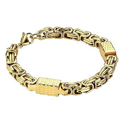 comment commander en vente en ligne couleurs harmonieuses Knsam Bracelet Homme Acier Inoxydable Or Maille Royale ...