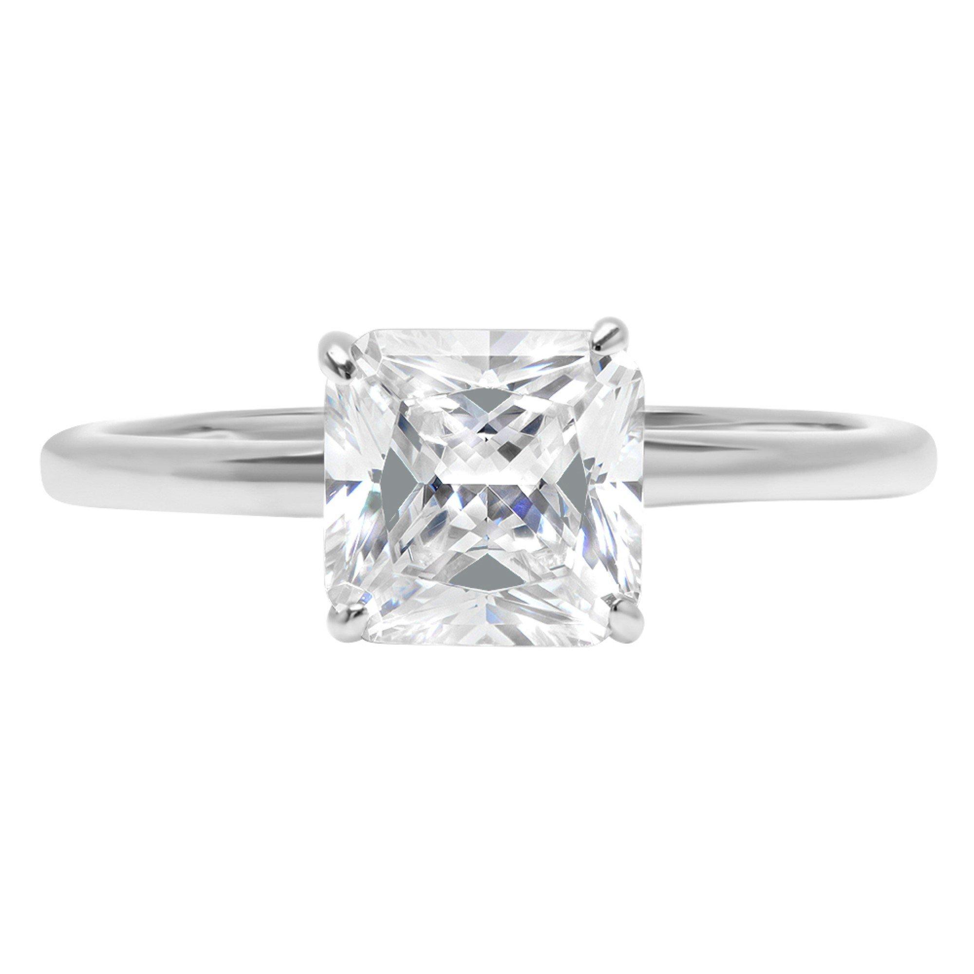14k White Gold 0.8ct Asscher Brilliant Cut Classic Solitaire Designer Wedding Bridal Statement Anniversary Engagement Promise Ring Solid, 11, 11
