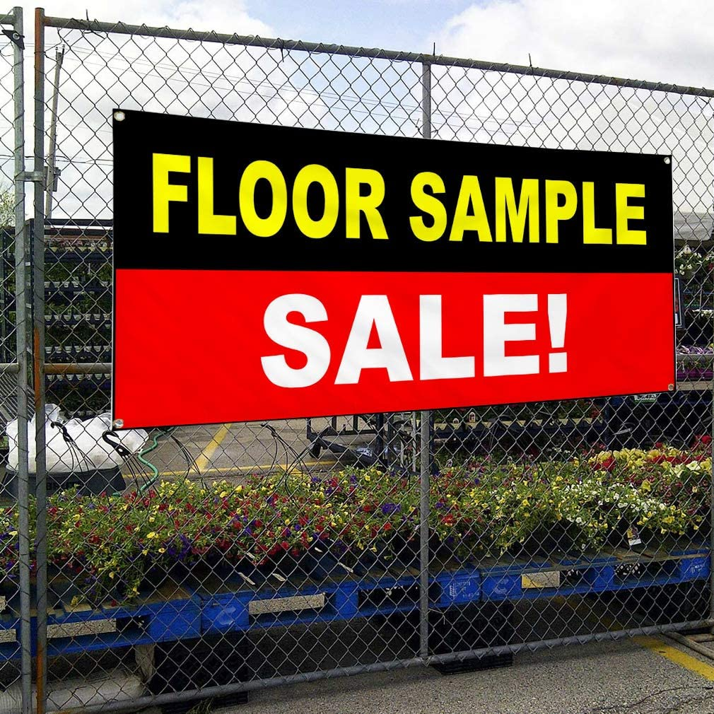 Multiple Sizes Available Vinyl Banner Sign Floor Sample Sale Black Red White Business Marketing Advertising Black 24inx60in 4 Grommets Set of 3