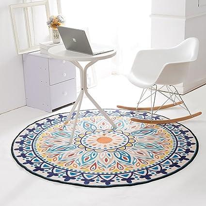 Retro Fleurs Bloom Motif Bleu Plus Jaune Tapis Rond Tables Et