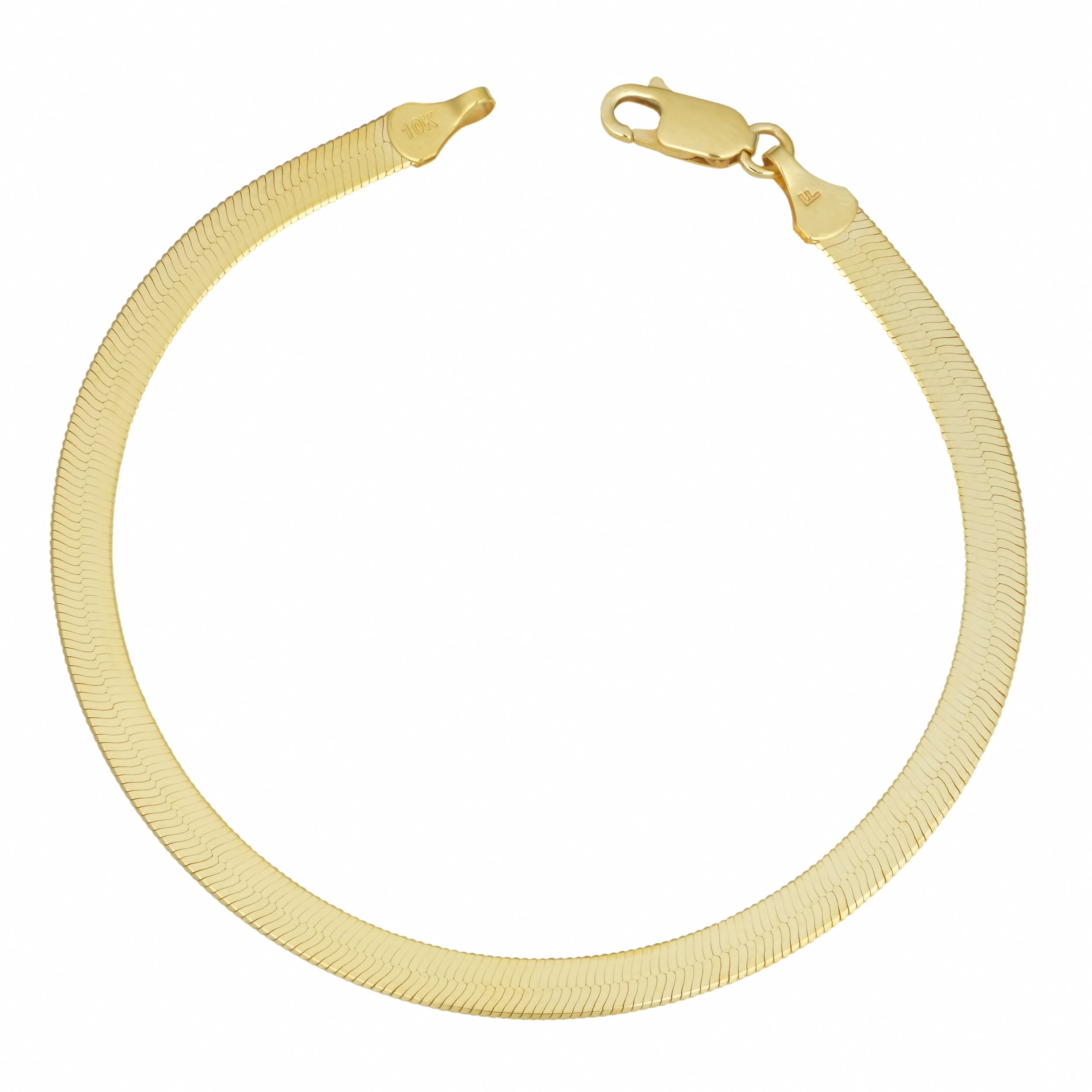 Kooljewelry 10k Yellow Gold 4.5 mm Herringbone Bracelet (7.5 inch) by Kooljewelry