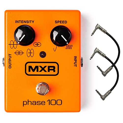 MXR M107 Phase 100 Guitar Phaser Effects Pedal Bundle with 2 Patch Cables