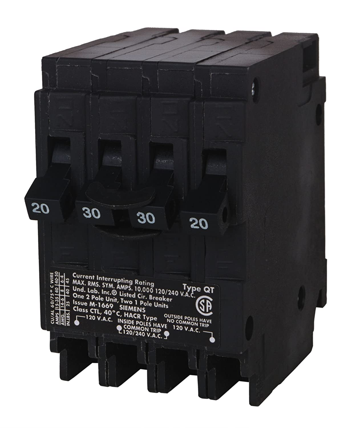 Siemens Q22030CT 30-Amp Double Pole Two 20-Amp Single Pole Circuit ...