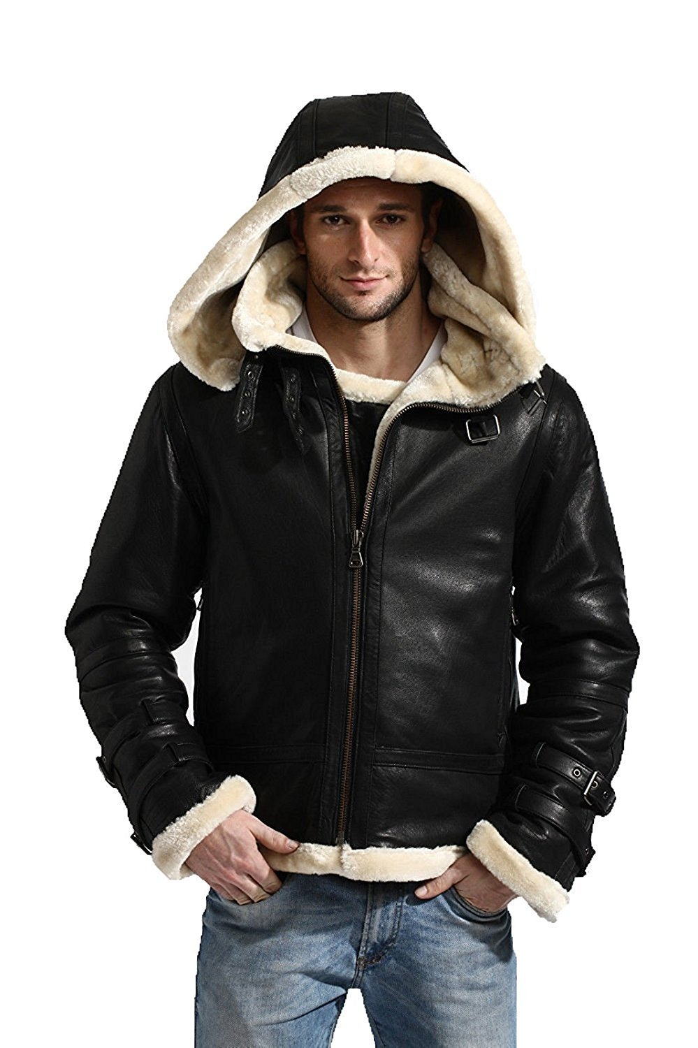 Premium Leather Products B3 Bomber Shearling Removable Hood Real Leather Jacket Hoodie (Medium)