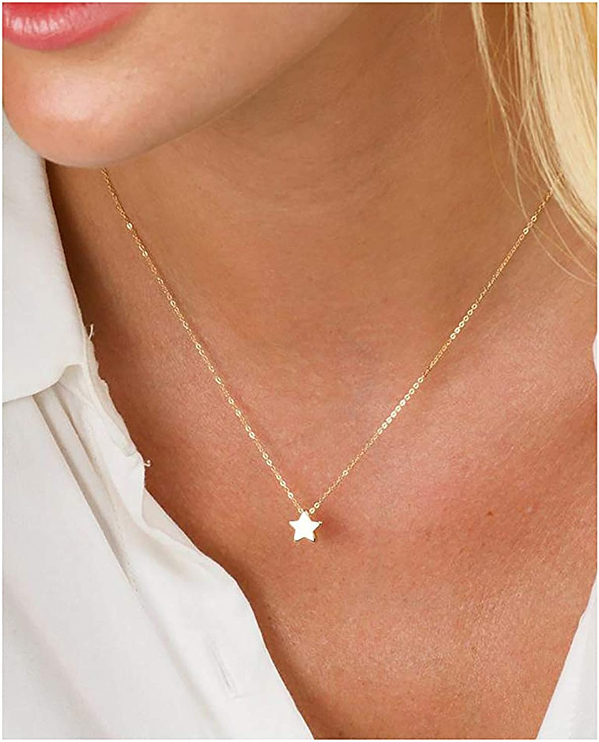 itianxi Dainty Bar Necklace for Women,Gold/Silver Cute Delicate Disc Necklcace,Trendy Elegant Dot Fashion Necklace
