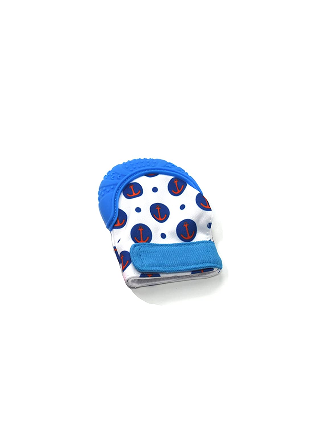 Cardboard Castle Ltd Baby Silicone Teething Munch Mitten Blue Blue Anchor Pattern Teether Glove for Toddlers and Infants BPA Free