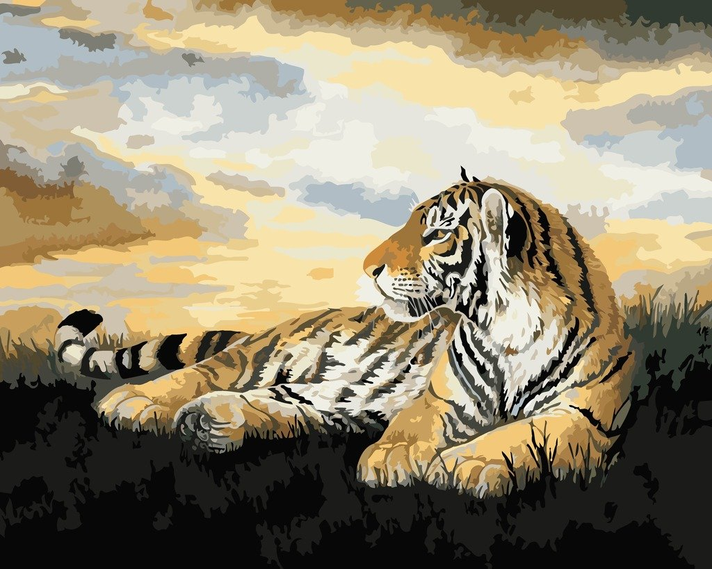 YEESAM ART New Paint by Numbers for Adults Children - Crouching Tiger 16*20 inches Linen Canvas - DIY Digital Painting by Numbers Kits on Canvas paint by numbers for adults children kids painting