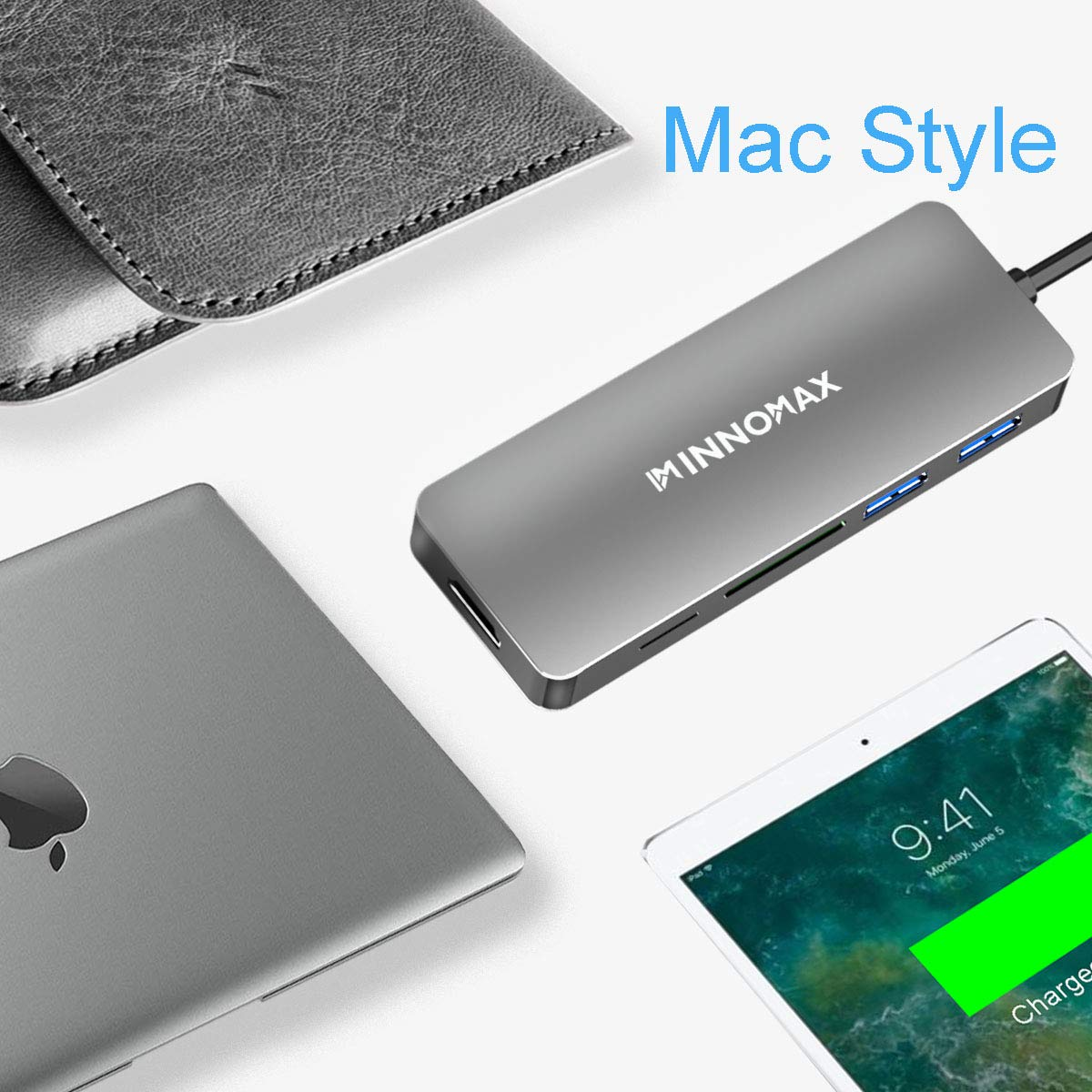 "INNOMAX MacBook Pro Powered USB C Hub/Adapter with Smart SD Card Reader,3 USB 3.0 Ports for New MacBook Pro13""15"" 2016 2017 with Thunderbolt 3 Ports,Apple MacBook12"" and Computer with USB C Port(Gray)"