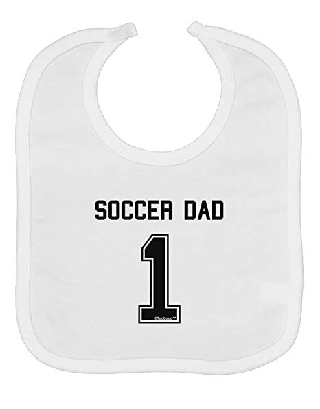 cc4d84b05bd Amazon.com  TooLoud Soccer Dad Jersey Baby Bib - White  Clothing
