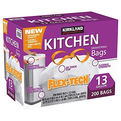 Kirkland Signature XL Cordón Cocina Bolsas de basura – Pack de 200